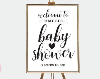 Baby shower sign in printable, Baby shower signage, Boho baby shower signs, Black and white baby shower decor, Editable baby shower sign