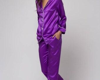 Silk pajamas set Silk long pajama Silk pyjamas Silk loungewear Violet pajama Purple pajama Gift for wife Gift for women