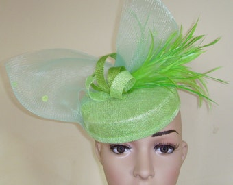 Lime Green Hat,Lime Pillbox Hat,Green Hat,Wedding Hat Green,Green Wedding Hat,Ascot Hat Green,Green Pillbox Hat,Green Fascinator,Green Hat