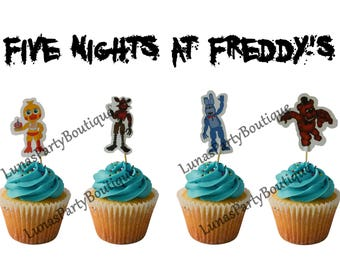 12 pcs Five Nights at Freddy's Cupcake Toppers ~ Chica, Foxy, Bonnie, Freddy ~ Great Kids Themed Birthday Party Decorations, Supplies, FNAF
