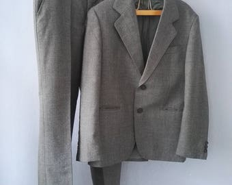 70s suit true vintage DDR jacket pants grey pepper and salt as new 1 x worn