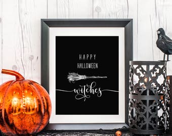 Happy Halloween Witches Art, 8 x 10 or 11 x 14, Halloween Art Print, Halloween Decor, Home Decor Print, Printed & Shipped
