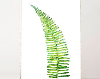 Fern Leaf Print, Watercolor Print, Watercolor Fern, Fern Wall Print, Botanical Fern Leaf Print, Poster of Green Fern, Boho Wall Poster