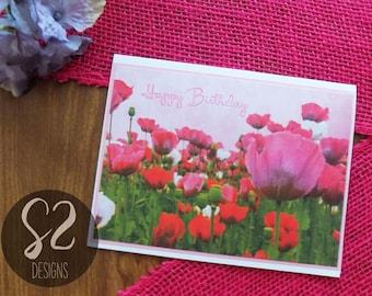 Handmade Flower Field Birthday Card