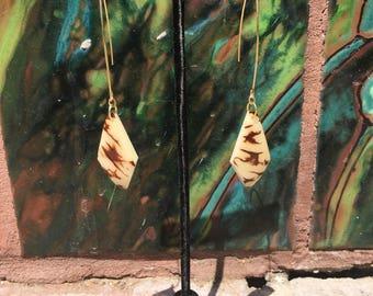 Tagua Arc Threader Earrings / Tagua Nut Earrings / Gold Threader Earrings / Organic Jewelry