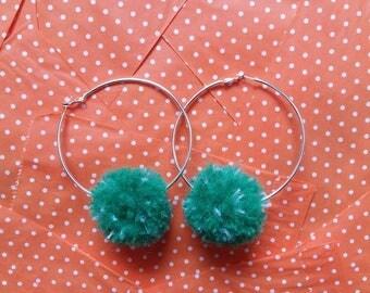 Green Pom Pom Hoop Earrings