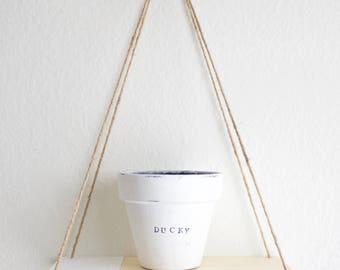 Mini Two Tone Shelf - Swing Shelf - Mini Dip Dyed Shelf - Hanging Shelves - Hanging Shelf - Rustic Wood Shelf - Floating Shelf