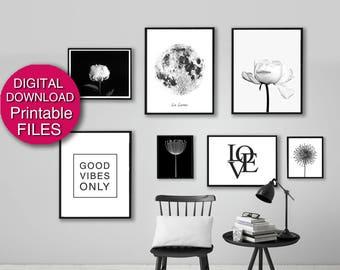 Printable Black and White Print Set, Peony Photography, Digital Art Set 16x20 11x14 8x10 A2 A3 A4