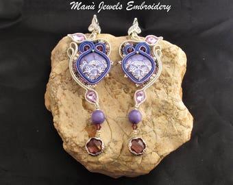 soutache earrings lavender purple, soutache, soutache jewelry, soutache jewels, handmade earrings, soutache embroidery, emboridered earrings