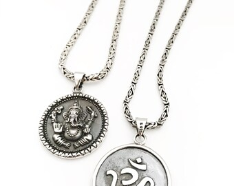 Tibetan Longevity Ganesh and Om Necklace