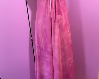 Maxi slip dress/  pink tie dyed slip/fab 208 nyc/vintage slip dress/hand dyed slip