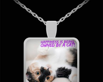 """CAT LOVER NECKLACE! Funny Calico Kitty cat photograph celebrates all things cat! Perfect gift for a cat mom! 22"""" Silver Necklace!"""