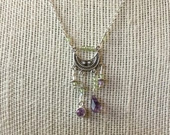 Peridot and Amethyst Focal Necklace in Sterling Silver
