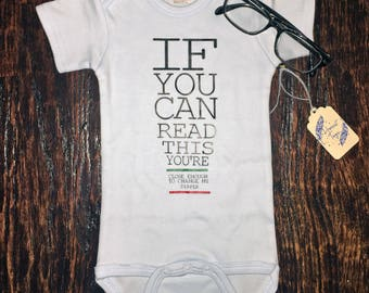 Optometrist - Baby Onesie, Vision Test, glasses, Funny, Optometry Baby onesie, If you can read this, you're close enough to change my diaper