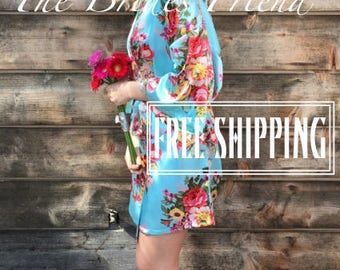 Bridesmaid Robes Set of 7 - MIX Colors- Bridesmaid Gift- Kimono Robe- Plus Size Robes- Wedding Robe- Silk Bridesmaid Robe *FREE SHIPPING*