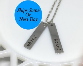 Couple Name Necklace, Couple Necklace, Couple Jewelry, Name Necklace, Engraved Necklace, Engraved Jewelry, Custom Necklace, Girlfriend Gift