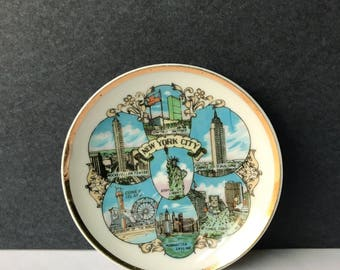 Vintage Mini New York City Souvenir Plate - Multi-Colored Gold Edged / NYC / Statue of Liberty Times Square Empire State Manhattan Skyline