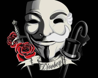 Revolution Mask T-shirt / V for Vendetta Tee /  Mr. Robot / Comic /  Anonymous  / FSociety / Free Shipping worldwide