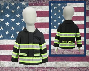 Personalized Handmade Toddler Firefighter BLACK Jacket