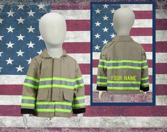 Personalized Handmade Toddler Firefighter TAN Jacket