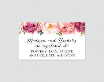 Printable OR Printed Wedding Registry Cards - Pink Floral Wedding Registry Invitation Inserts, Rustic Pink Flower Registry Inserts 0004