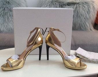 Diane von Furstenberg Jalen Gold Evening sandal