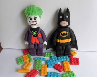 Batman and Joker Lego style cake topper set with 20 Lego bricks