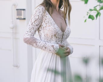Bohemian Wedding Dress, Boho Wedding Dress,  Backless Wedding Dress, Long Sleeves Wedding Dress, Vintage Wedding Dress,Sexy Wedding Dress
