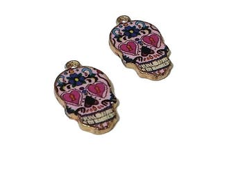 2 Sugar Skull Charms | Dia De Los Muertos | Colorful Skull |  Day of the Dead Charm | Skull Pendant | Ready to Ship from USA | EN567-2