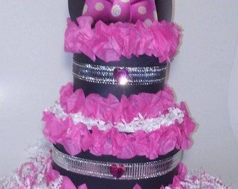 Bling Minnie Mouse diapercake
