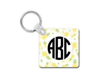 Monogram Keychain | Initial Keychain | Pineapple Keychain | Key Ring | Pineapple Gifts | Pineapple Monogram | Key Chain