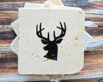Deer Coasters, Deer Head Coasters, Stone Coasters, Buck Coasters, set of 4, Deer, Antlers, Hunter Gift, Wildlife Coasters, Buck