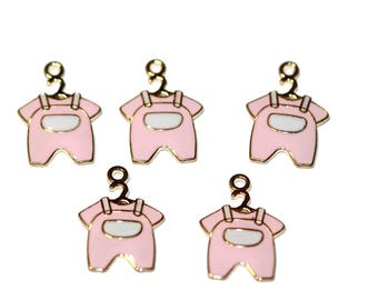 Baby Girl Charm Pink Baby Charms Pink Enamel Baby Outfit On Hanger Pink Baby Jumper Charm Bracelet Charms 5 Pieces