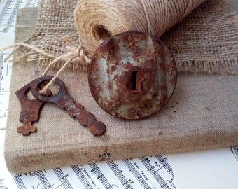 Vintage lock and 2 keys Rusty keys Old keys Metal Soviet Made in USSR Steampunk Style Rustic Decor Original Decoration Antique Industrial