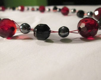 Black and Red Floating/Illusion Necklace