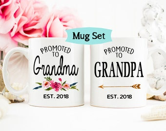 Promoted to Grandma Grandpa mug, Pregnancy Reveal to Grandparents mug, New Grandparents, Baby Announcement Grandparents Mug, Grandma mug