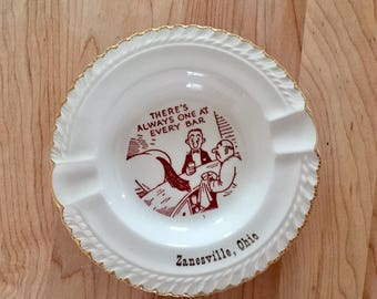 Vintage Ashtray - Zanesville Ohio - Souvenir