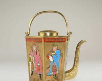 Vintage Teapot | Chinese Brass Teapots with Enameled and Hand Painted Figures | Hexagonal Teapot |