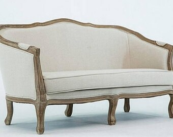 Charlotte curved upholstered french settee/sofa custom options