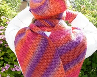 Orange / purple diagonally striped scarf, 100% wool, shades of red, orange, light and dark puple, beautiful on its own or as part of a set