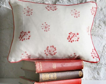 Bespoke Linen Cushion, Designed and Handmade in England - 'Tiny Trumpets' in Natural & Raspberry