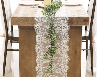 Soft White Lace Table Runner/14x120 Inch Table Runners/Overlay/White Weddings/Tabletop Decor/Centerpiece/Wedding Decor/Ship from USA
