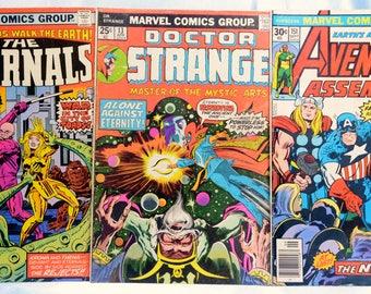 3 Marvel Comics/The Avengers #151 Sept. 1976/The Eternals #8 Feb. 1977/Doctor Strange #13 April 1976