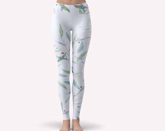 Printed Yoga Tights, Performance Leggings, Yoga Leggings Blue, White Yoga Leggings, Festival Tights, Womens Workout Pants, Yoga Pants