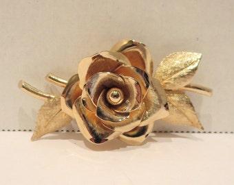 Gold Tone Rose Brooch