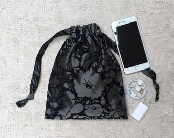 smallbag velvet, black flowers - 2 sizes - reusable bag patterns - zero waste