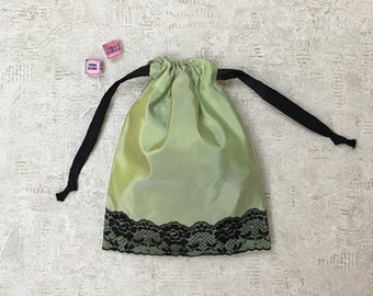 light green sexy smallbags changing taffeta and Black Lace - reusable bag - zero waste