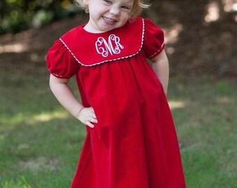 Christmas Red Dress; Red Christmas Dress; Christmas Dress; Photo with Santa; Girls Christmas Dress; Red Girls Dress; Monogrammed Dress