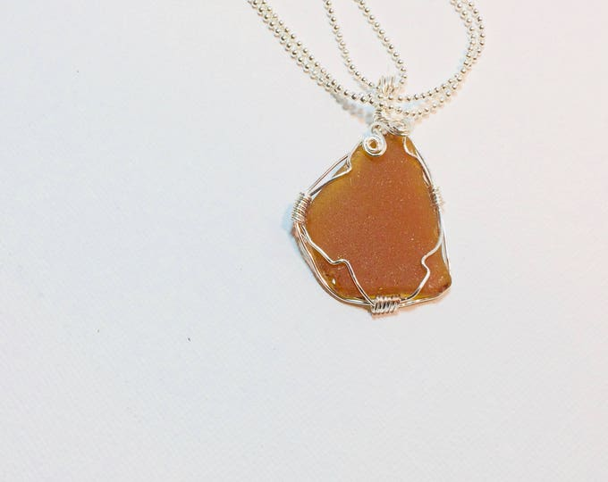 wire wrap - Brown Amber - Beach Glass - Necklace - Gift for Her - Beach Glass Jewelry