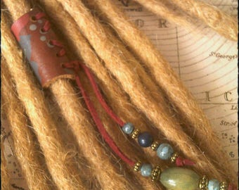 L/XL - Unique hand crafted, up-cycled genuine leather dread/hair cuff/bead with beaded tails L/XL